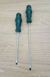 """2Pc Quality Thin Screwdriver Set 7"""" & 9"""" Flat Head Long Magnetic Tip Grip Handle"""