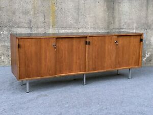Mid Century Modern Florence Knoll Leather Handle & Walnut Credenza Sideboard