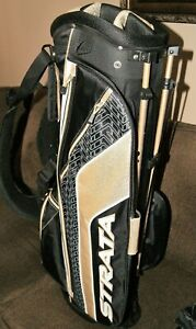 NEW STRATA GOLD/BLACK/WHITE STAND GOLF BAG W/MATCHING HEADCOVERS