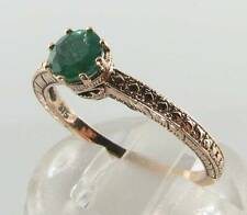 DIVINE 9K 9CT ROSE GOLD COLOMBIAN EMERALD ART DECO SOLITAIRE INS RING FREE SIZE