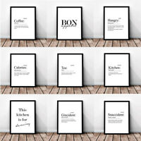 A4 A3 Mono Kitchen / Dining Room Prints Snaccident Hangry Definition B&W 342 set