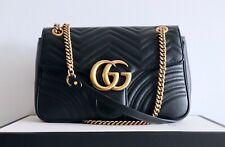 100% Authentic Gucci GG Marmont Matelassé Medium Bag Black Leather