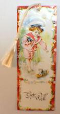 Victorian Paper Bookmark Get Well Sailor Cat Hand String Tassel Gift Tag #Bk-07