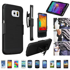 Hard Rubberized Case Kickstand Belt Clip Holster Combo Shell Cover for Samsung