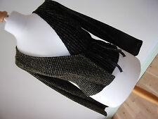 Nuevo Diseñador HETEROCLITE Damas Chaqueta Tejida Negro Y Verde/Top tamaño S