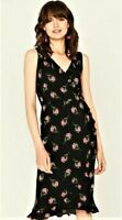 Womens Oasis Wrap Midi Dress Black & Pink Ditsy Floral Sleeveless UK SIZE XS-S-M