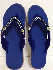 Blue Velvet Slip On Woman Indoor/bedroom Slipper Size 10