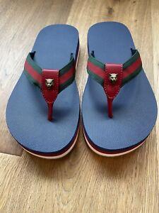 NWB Gucci Mens Lion Web Thong Sandals Gucci 7/US 8 Nylon