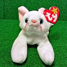 Ty Beanie Baby Flip The Cat ALL White PVC Retired 1993 Plush Toy FREE Shipping