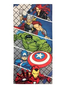 "Marvel Heroes Avengers Iron Man Hulk Thor Beach Towel Pool Bath Cotton 28"" X 58"""