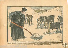 Dogs Séance de Dressage Chien Grand-Saint-Bernard Alpes 1934 France ILLUSTRATION