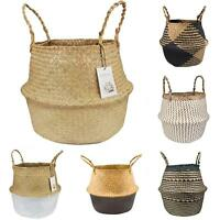 SEAGRASS BELLY BASKET STORAGE PLANT POT FOLDABLE NURSERY LAUNDRY BAG ROOM STRICT