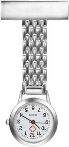 Stainless Steel Nurse Watch Quartz Silver Fob Pocket Brooch Tunic Uniform Doctor