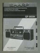 SHARP GF-800 H Operation Manual Instruction Boombox Cassette