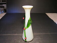 Unusual Old Ribbed Mouth Blown Glass Vase With Applied Berries On Vine CZECH