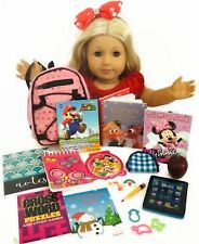 """Sequin Backpack & School Supplies for American Girl Doll 18"""" Accessories Fit Set"""