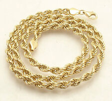 """18"""" 4mm All Shiny Twisted Rope Chain Necklace Real 18K Yellow Gold 7.9gr"""