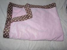 JUST BORN BABY GIRL PINK BLANKET BROWN FLOWER FLORAL TRIM BORDER SOFT