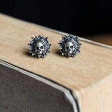 925 Silver Flower Skull Ear Studs