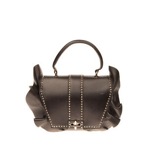 RRP €2455 VALENTINO GARAVANI Leather Satchel Bag Ruffle Trim Rockstuds Turnlock
