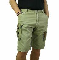 Bermuda Uomo Cargo Pantalone Corto Tasconi Laterali Shorts Casual Verde