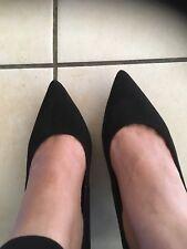 London Rebel Shoes Black Suede Small Stiletto Heel