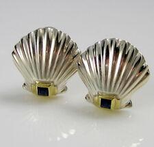 Tiffany & Co Sterling Silver 18K Gold Sapphire Scallop Shell Pierced Earrings