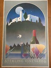 Vtg Stephen Haines Hall Wine Poster Sterling Vineyards Napa Valley CA Tram Fine