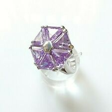 Large Amethyst Flower Ring Solid 925 Sterling Silver size O