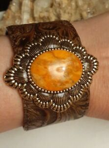 Southwestern Brown embossed Leather Bronze Sponge Coral Cuff Bracelet Average