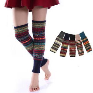 Knit Boot Warmer Socks Leg Warmers Knee High Leggings Crochet Winter Fair Isle