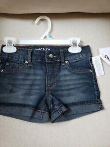 NEW Girls Size 5 DKNY Hipster Blue Jean Denim Shorts Skinny Fit Cuffed Stretch