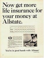 1965 ORIGINAL VINTAGE ALLSTATE LIFE INSURANCE MAGAZINE AD