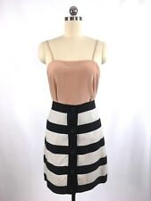 Club Monaco Grosgrain Ribbon Striped Button Up Cupro Pencil Skirt, Size 4