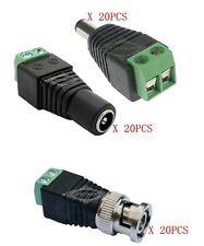 Bulk CAT5 to BNC Coaxial  Plus 2.1MM*5.5MM Male Female DC Power Connector 20Sets