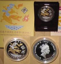 2012 TUVALU Gilded DRAGON $2 D PROOF Silver COIN with COA & BOX