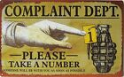Complaint Dept TAKE A NUMBER funny TIN SIGN metal rustic vtg retro bar decor OHW