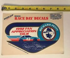 Vintage Richard Petty 1992 Fan Appreciation Tour Sticker Race Day Decals