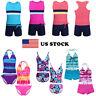 US 2Pcs Girls Swimwear Tankini Swimsuit Bikini Bathing Suit Kid Beachwear Outfit