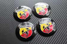FIAT ABARTH BLACK 56MM ALLY WHEEL Badges Punto Stilo Bravo Seicento (3C)