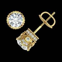 4Ct Round Diamond Screw Back Solitaire Stud Earrings 14K Yellow Gold Finish