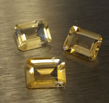 5.90 CT 3pcs EMERALD CUT LOOSE FACETED NATURAL YELLOW CITRINE 9x7x4.5mm aprox