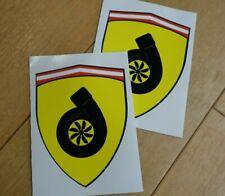 2 x Prancing Turbo Stickers / Shields JDM MX5 Nissan Toyota Etc.