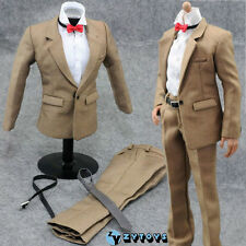1/6 Scale Male Khaki Suit Formal Dress Shirt Pants For 12 inch Figure Body Toys