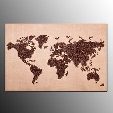 Framed Canvas Painting Prints Coffee Bean World Map Wall Art for Living Room