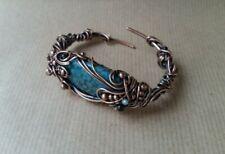 Oxidised Copper & Blue Maifan Cabochone Wire-wrapped Bangle Bracelet Handmade