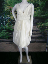 "BLUSH BY JLM COUTURE WEDDING GOWN DRESS 12 SHORT SILK IVORY SEXY LOW ""V"" USA"