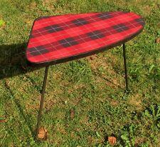 Vintage Tripod Coffee Side Table Mid Century Mod Space Age Tartan Pattern
