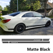 DIY 2X Matte Black Car SUV External Body Side Stripes Skirt Decals Vinyl Sticker