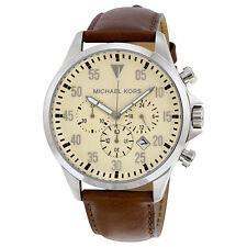New Michael Kors Original MK8441 Men's Gage Brown Leather Strap Chrono Watch